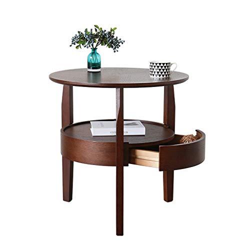 WEN Couchtisch Einfache Wohnzimmer Kleine Wohnung Runden Tisch Moderne Sofa Side Cabinet Kreative Runde (Farbe : Walnut Color) - Runde Cabinet