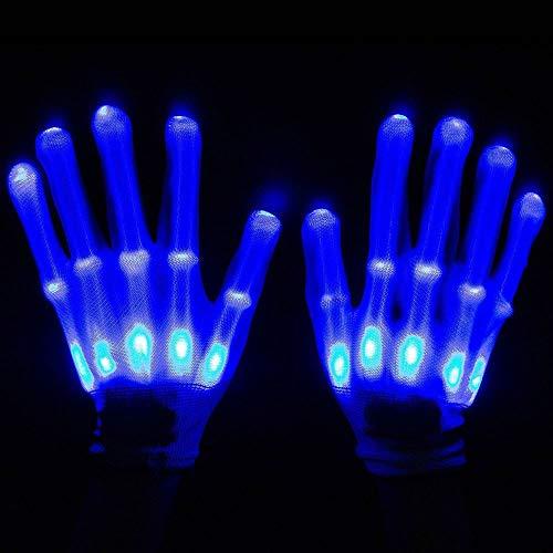 BUG-L Leichte LED-Handschuhe, Bunte Glitter Rainbow Fluorescent Gloves FüR Clubs, Raves, Festivals, Halloween, Bonfire Nights, Party, Spiele