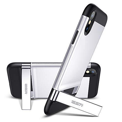 ESR Funda para iPhone XS MAX Soporte de Metal [Soporte Vertical y Horizontal] Parte Posterior Dura de PC con Parachoques de TPU para iPhone de XS MAX de 6.5'-Plata