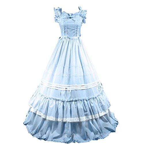 Partiss Damen Adorable Langarm Lace Gothic Victorian Lolita Kleid
