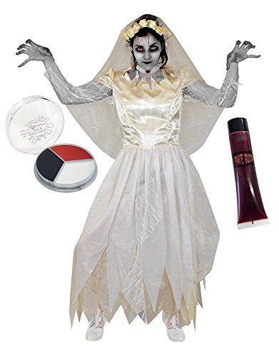 ILOVEFANCYDRESS Geister Braut MIT Kunst Blut +SCHMINKE KOSTÜM VERKLEIDUNG Zombie Vampire Braut Halloween Karneval=IN 5 VERSCHIEDENEN GRÖßEN =MEDIUM