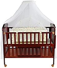 LuvLap C-80 Baby Wooden Cot with Detachable Newborn Cradle (Red) Without Mattress