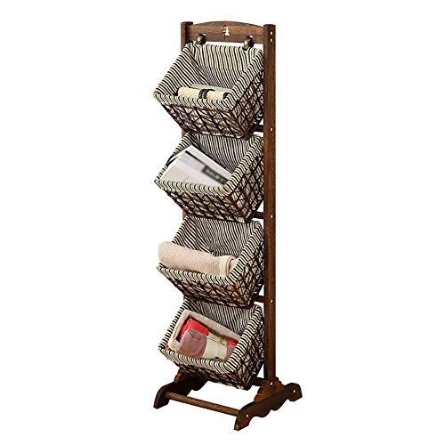 TJZY Ablagekorb Regal Körbe 4 Tier Display Stand Boden hängenden Korb Zeitungsständer aus Holz Rattan Körbe Commodity Regal/Stil 1