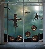 Halloween Skull Stickers Fenêtre Art Autocollant Fournitures de Fête Citrouille Amovible Autocollant statique Halloween Crâne Décoration (4 Drap/Ensemble) (Halloween)