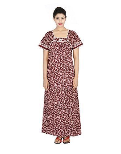 Maa Collection Women's Cotton Feeding Nighty (Brown)