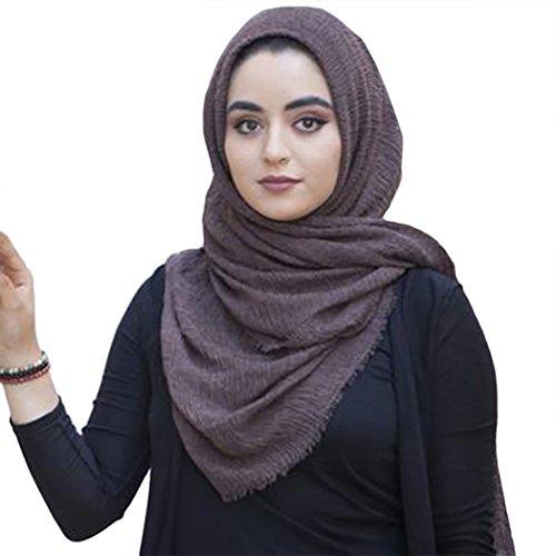 mioim Damen Muslim Islamischen Hanfstoff Kopftuch Schal Kopfbedeckungen Einfarbig in vielen Farbe 180x95cm