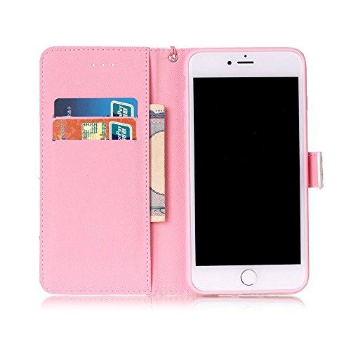 """Rose Fille Style Cuir Portefeuille Coque pour Apple iphone 7 Plus 5.5"""", Élégant iPhone 7 Plus étui Rabat Style, Case iPhone 7 Plus, Joli Image Imprimé - Coeurs roses Rose-6"""