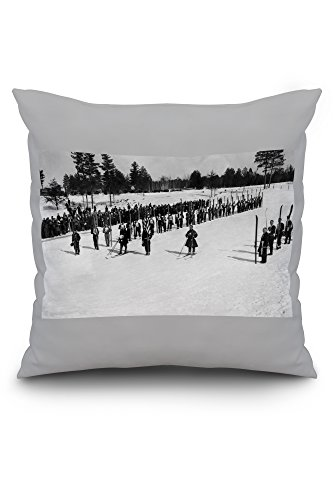 land-o-lakes-wisconsin-skiers-on-parade-near-kings-gateway-hotel-20x20-spun-polyester-pillow-case-wh