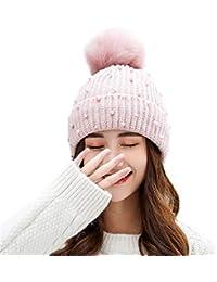 Feiboy Gorra para Mujer- Cálido Hats Sombrero De Esqui con Perla Beanie De  Knit con 293bd96bf96