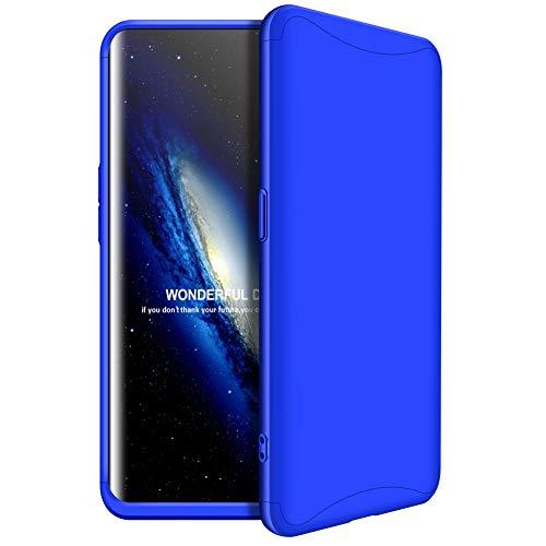 MISSDU kompatibel mit Premium Hart PC 360 Grad Hülle Oppo Find x + Panzerglas,3 in1 Handytasche Handyhülle Schutzhülle Cover - Rot