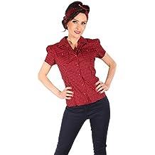 27ded29e0335ba SugarShock Damen Gingham PIN UP Retro Rockabilly Karo Hemd Puffärmel Bluse  schwarz-rot