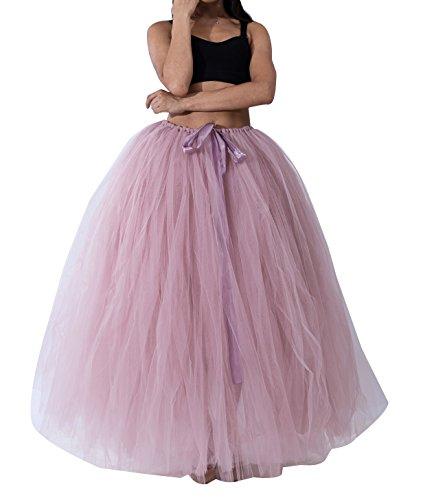 Donna gonne lunghe tulle Principessa Balletto Bubble Puffy Tutu Petticoat Skirt Sottogonna Buio Pink
