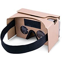 Potok® DIY Google Cardboard Kit V2 Big Lens 3D Vr Virtual Reality Cardboard Glasses with Head Strap,Compatible with 3-6 Inch Screen Apple Iphone Samsung HTC Smartphone