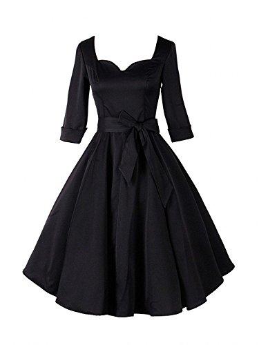 LUOUSE Robe De Bal Style Vintage 1950 Balançoire Rockabilly Audrey Hepburn Clarity Pastel Manches 3/4. Fermeture éclair latérale cachée. Femme LUOUSE