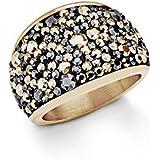 s. Oliver Damen-Ring Swarovski Elements Edelstahl teilvergoldet Kristall grau Rundschliff - 5447