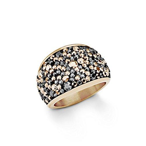 s. Oliver Damen-Ring Swarovski Elements Edelstahl teilvergoldet Kristall grau Rundschliff Gr. 52 (16.6) - 544689