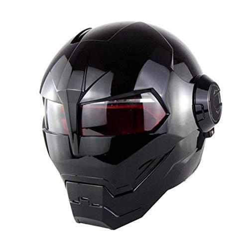 TLPSB D.O.T Zertifizierter Motorradhelm Motocross Vollgesichts Casco Moto Flip Offener Maskenhelm, Iron Man Transformers - M, L, XL Schwarz,L