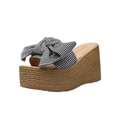 Wawer - - Mode Süß Dicker Boden Plateauschuhe Tuch Bow Sandalen und Hausschuhe-Große Damenschuhe Frauen Espadrilles Lässig Sandalen Strandschuhe Einzelne Schuhe High Heels -