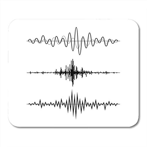 Mouse Pads Line Black Soundwave Music Sound Waves White Audio Equalizer Technology Pulse Musical Vibration Stereo Mouse Pad for notebooks,Desktop Computers mats Office Supplies 3g Stereo
