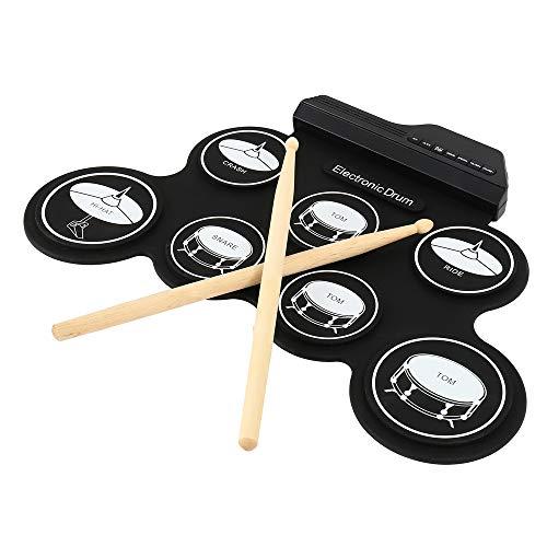Kit de tambor electrónico digital con almohadillas para batería, instrumento de práctica musical con pedales de 2 pies y baquetas para niños principiantes (no altavoz integrado)