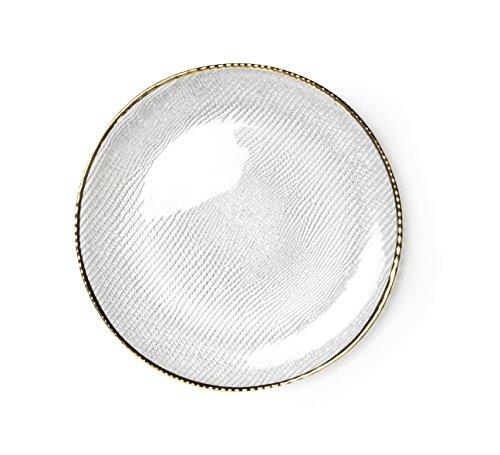 Excelsa Gold Platzteller, Glas, transparent/Rand Gold, 33.5x 33.5x 2cm