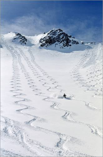 Posterlounge Holzbild 80 x 120 cm: Skifahrer in Utah von Howie Garber/Danita Delimont Utah Ski Snowboard