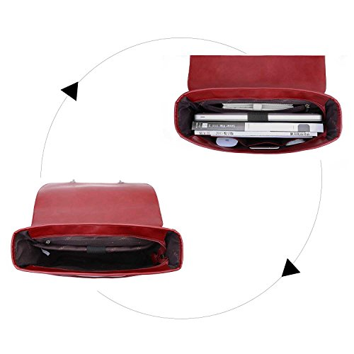 ECOSUSI Borsa Messenger in Pelle Pu Borsa Vintage Borsa a Tracolla per Laptop 14.7 Pollici (Vino rosso1)