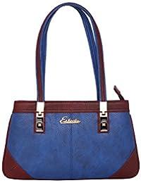 ESBEDA Medium Blue & Maroon Solid PU Synthetic Handbag For Women