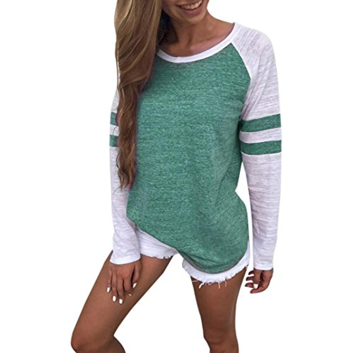 Casual Blouse Femme Manches Longues,OverDose Hiver T-shirt Rayures Color Block Chemisiers Tops Vert