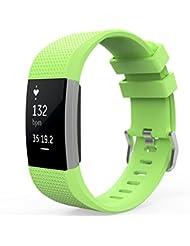 MoKo Fitbit Charge 2 Armband, [Pure Serie] Silikon Sportarmband Uhrenarmband Uhr Erstatzband für Fitbit Charge 2 Smartwatch Zur Herzfrequenz und Fitnessaufzeichnung, Armbandlänge 145mm-210mm, Grün