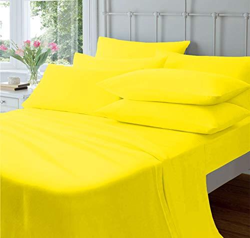 Sábana encimera amarilla (600 Hilos, 100% algodón Egipcio)