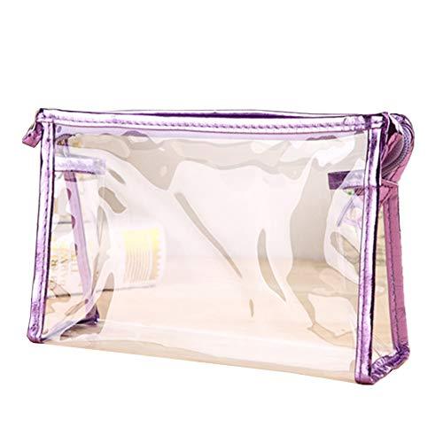 Trousse de toilette transparente étanche en PVC avec fermeture éclair pour les vacances, la salle de bain et le voyage violet violet