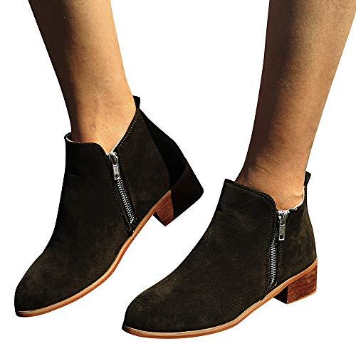 TianWlio Frauen Herbst Winter Stiefel Schuhe Stiefeletten Boots Winter Herbst Flache Stiefel Schuhe Hohe Bein Wildleder Kurze Lange Stiefel Grün 41