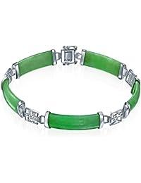 Bling Jewelry Buena uerte Símbolo chino Jade Verde Link Pulsera Plata Esterlina 8en