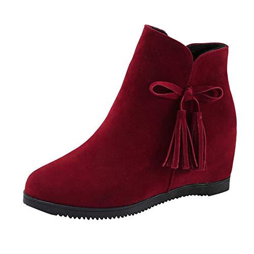 Rote Sohle Spitze (Ansenesna Stiefeletten Damen Braun Keilabsatz Quaste Velourleder Elegant Schuhe Frauen Mädchen Martain Boots Mode Vintage (35, Rot))