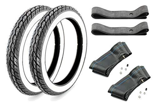 BISOMO Kenda Weisswand Reifen Set 2,75-17 2X Reifen 2X Schlauch 2X Felgenband