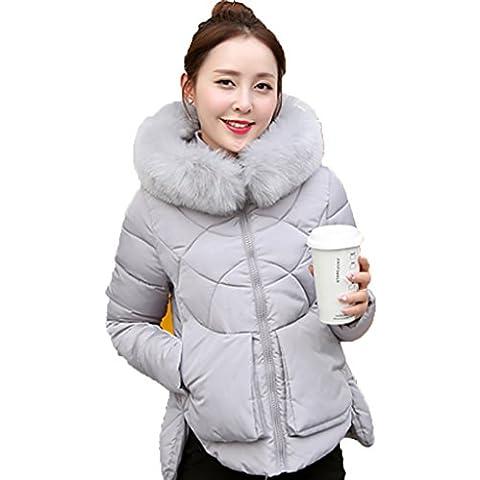 Creative Light- Inverno ispessimento breve paragrafo Slim svago femminile con cappuccio Zipper Solid colori Mantenere Cotone caldo cappotto (cinque colori, Quattro formati tra cui scegliere) ( colore : Gray , dimensioni : M )