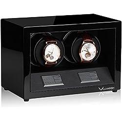 Luxwinder Unisex Zubehör Uhrenbeweger für 2 Automatikuhren makassar powered by Modalo verschiedene Materialien schwarz 4302112