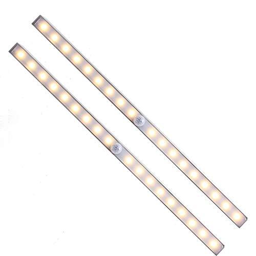 Unigear Luz Armario USB Recargable Lámpara Automático PIR Sensor De Movimiento Humano 18 LED 3 Modo Barra Iluminación Noctura Escalera Esquina Oscuro Cajón (2 Pack Luz Amarillo)