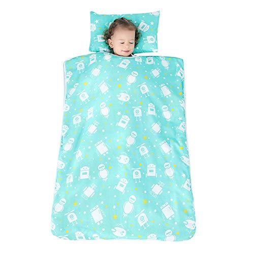 YFCH Baby/Kinder Jungen/Mädchen Schlafsack Kinderschlafsack Abziehbar Babyschlafsack Baumwolle Musselin Schlummersack Babydecke mit Kopfkissen, Weiß Roboter auf Eisblau, 120 × 150CM (Roboter Füße Kostüm)