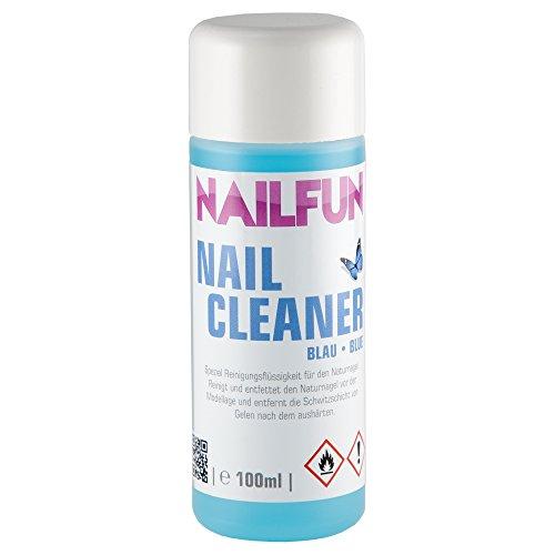 NAILFUN Nail-Cleaner blau [100ml] Spezial Reinigungsflüssigkeit für den Naturnagel - reinigt und entfettet den Naturnagel vor der Modellage und entfernt die Kohäsionsschicht vom Gel nach dem Aushärten -