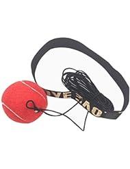 Boxeo formación bola fuibo lucha elástica banda para la cabeza bola de boxeo punching velocidad de reacción para entrenamiento, rojo