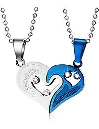BOBIJOO Jewelry - Double Collier Pendentif Couple Coeur Séparable I Love  You Strass Acier Bleu a9d5a984a0f