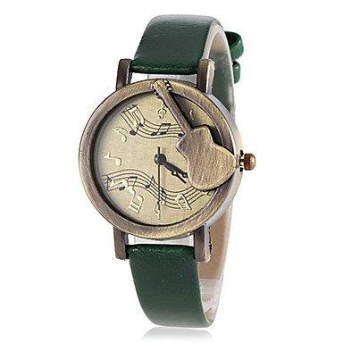 Belles montres, Rétro guitare de femmes composer PU montre-bracelet bande de quartz (couleurs assorties) ( Couleur : Vert , Taille : Taille Unique