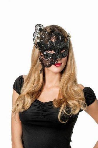 Karneval Klamotten Venezianische Masken Damen Venezianische Maske schwarz aus Metall Schmetterling Luxus Maske Venedig mit Flügel-n Venezianisch für Maskenball