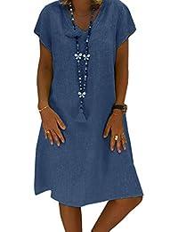 f734e1d54f5 Yidarton Women s V Neck Summer Dress Short Sleeve Casual Midi Dress Chic  Vintage Ethnic Sundress Solid Color Loose Linen Dress Without…