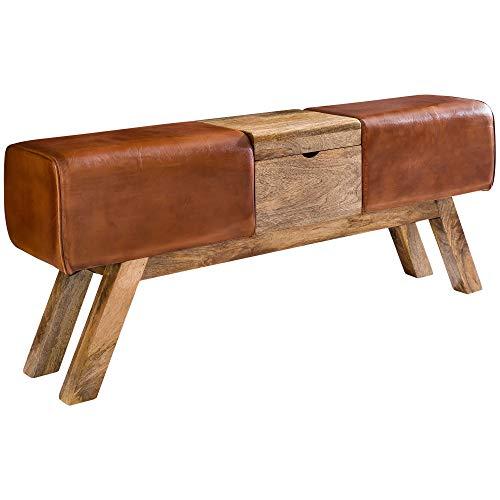 FineBuy Design Turnbock Sitzbank Braun Aufbewahrungsfach 120 x 29 x 53 cm | Turnhocker Bank aus Echtleder Klappfach | Hocker Garderobenbank Sitzhocker Springbock Turnbank
