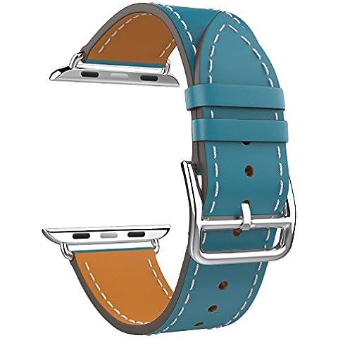 MoKo Apple Watch 38mm Cinturino, Braccialetto Lusso Morbido di Giro Singolo di Ricambio in Vera Pelle per Apple Watch 38mm di Series 1 2015 & Series 2 2016, BLU Pavone (NON Adatto a