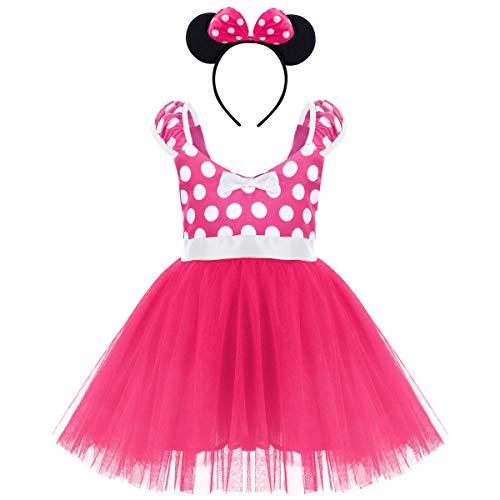 IWEMEK Prinzessin Baby Weihnachten Tupfen Geburtstags Festzug Minnie Kleid Kleinkind Ballett Tutu Kleid Tanzkleider Partykleid Karneval Cosplay Kleid Outfits mit Maus Ohren Bowknot 2-3 Jahre