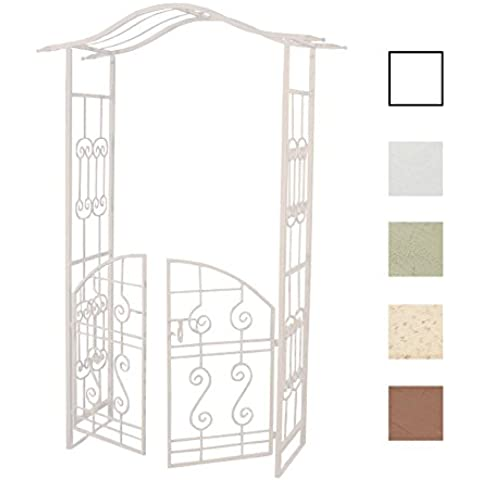 CLP Arco jardín/Arco de flores ASTIA con PUERTA, de hierro muy estable, altura 220 cm, ancho 110 cm, hasta 5 colores para elegir blanco
